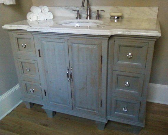 Rustic painted bathroom vanity for Painted vanities bathrooms