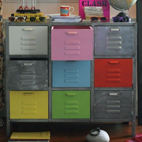 industrial locker style chest diy idea spray paint in pastel colours