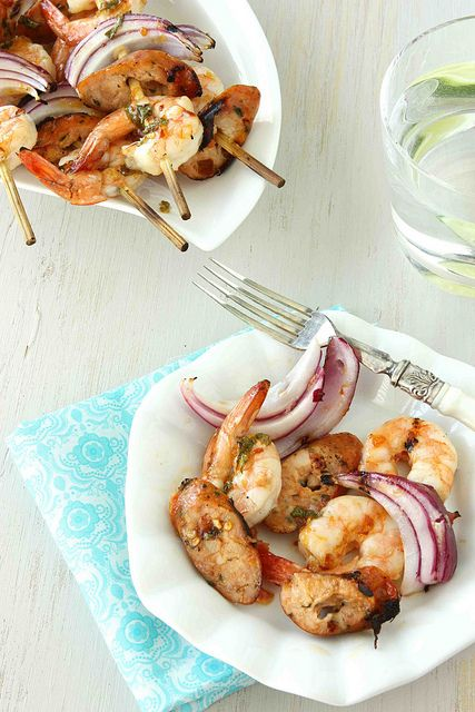 Grilled Shrimp & Sausage Skewers with Apricot Chile Glaze Recipe ...
