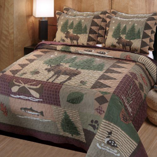Northwoods bedding set with moose, bear, loon, fish, canoe, pine trees