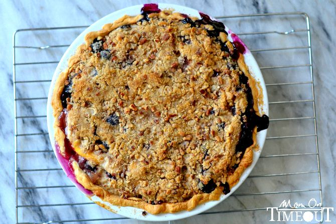 Peach Blueberry Pie with Pecan Streusel Topping from MomOnTimeout.com ...