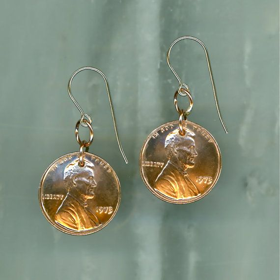 40th Wedding Anniversary Gift Jewelry : 40th Anniversary Jewelry, 1973 Penny Earrings, 40th Birthday Gift ...