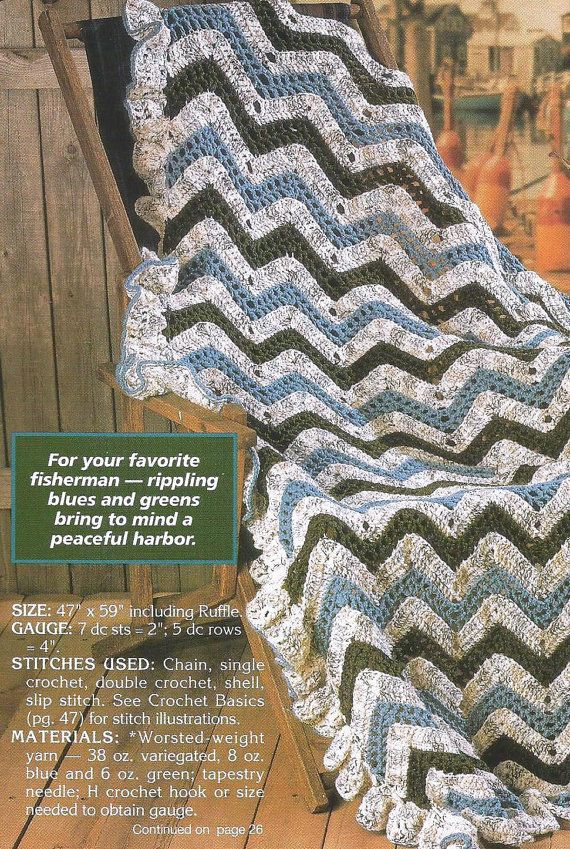 Crochet Crocheting Pattern for a Zig Zag RIPPLING WAVES AFGHAN Blanket ...