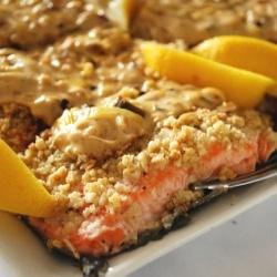 almonds and a creamy lemon leek sauce dress a voluptuous salmon ...