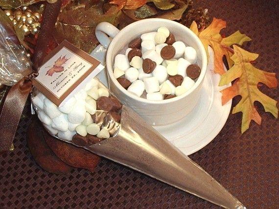 AUTUMN FALL wedding hot cocoa cone favors - maple leaves hot chocolate