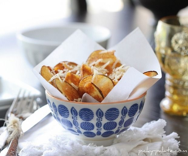 Bowl of Homemade Parmesan Potato Chips....for one :) Chips are my ...