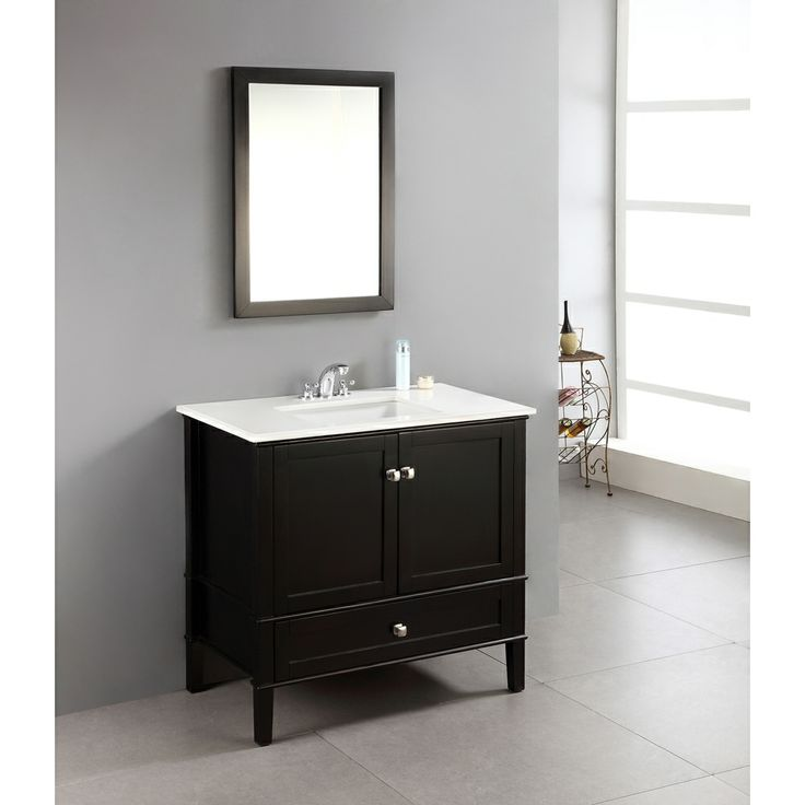 windham black 36 inch bath vanity with 2 doors bottom drawer and