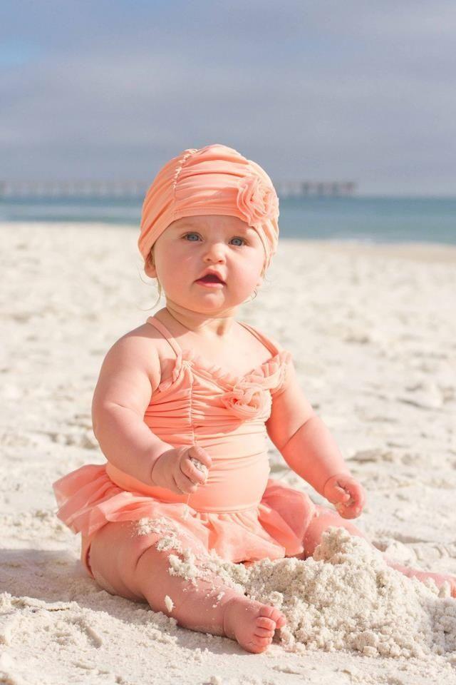 Adorable baby girl peach swimsuit | Cutie PIE | Pinterest