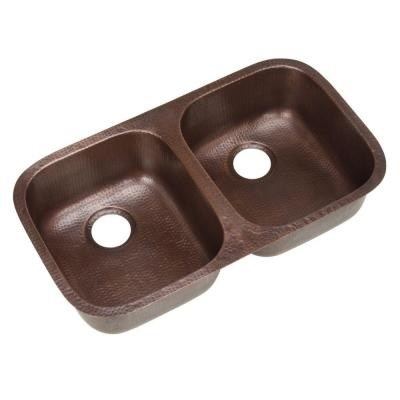 Pegasus Undermount Solid Copper 32-1/4x18-1/2x8 Double Bowl Kitchen ...