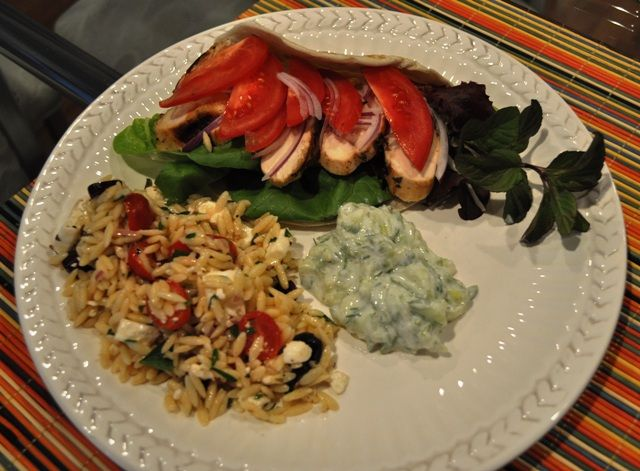 Greek Chicken with Cucumber Sauce and Orzo Salad Recipe