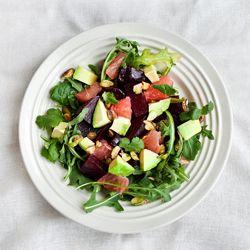 Roasted beet salad with arugula, pistachio, grapefruit, & avocado
