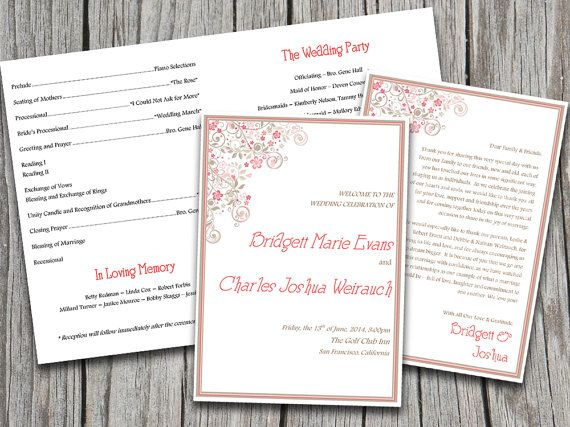 wedding programs templates microsoft word .