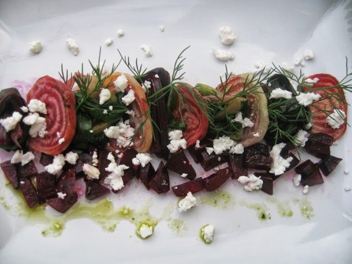 Heirloom beets and beet greens with goat's feta.