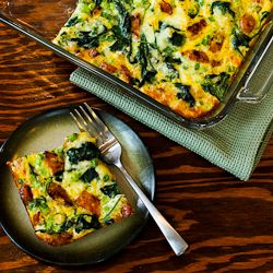 ... Garlic Sausage, Kale, and Mozzarella Egg Bake [from KalynsKitchen.com