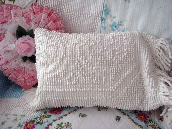 darling MINI small vintage CHENILLE PILLOW with fringe dog cottage sh?
