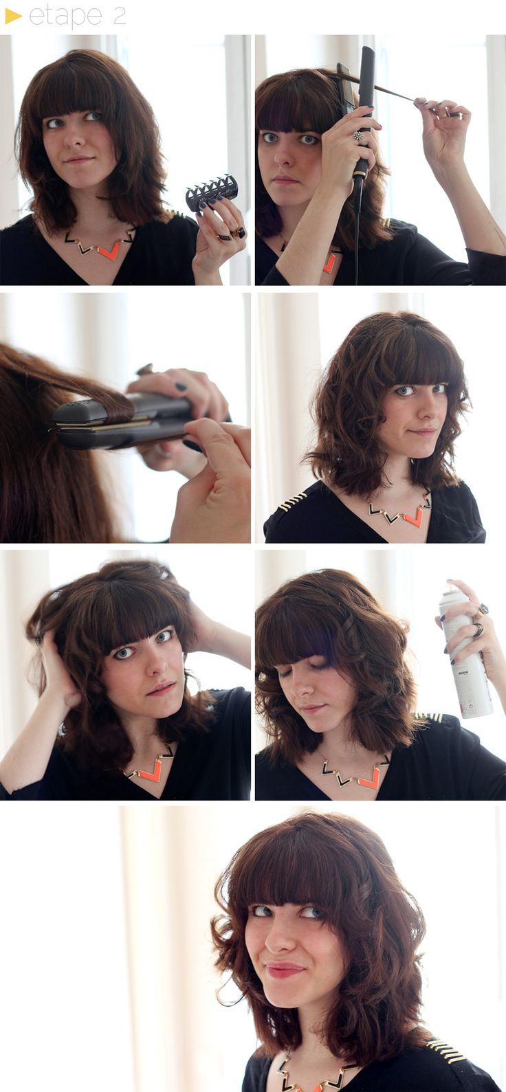 ... le lisseur vers le bout du cheveux. Fixer au spray spécial boucle