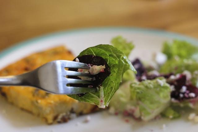 potato chorizo amp thyme frittata with a beetroot amp feta salad