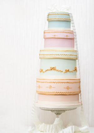 Vintage Hatboxes - A stack of hatboxes with detailed gold piping and a pleated satin ribbon. #weddingcakes