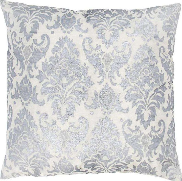 Silver Decorative Bed Pillows : Rizzy Silver White Decorative Pillow T03593