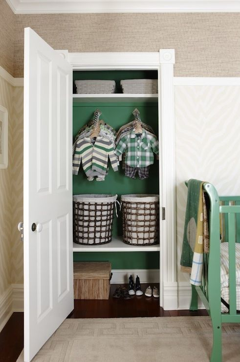 Suzie: Sarah Richardson Design - Kelly green painted closet, Thibaut Designs Etosha Wallpaper - ...
