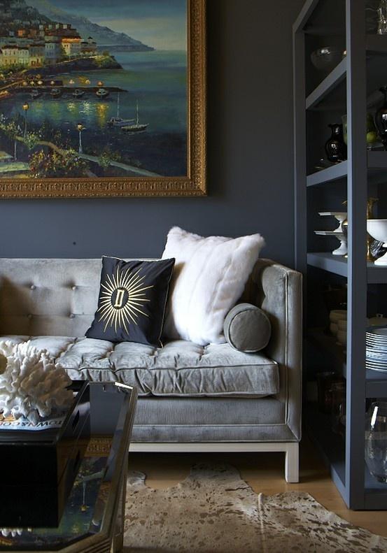 Dark Walls Grey Velvet Sofa Large Art For The Home