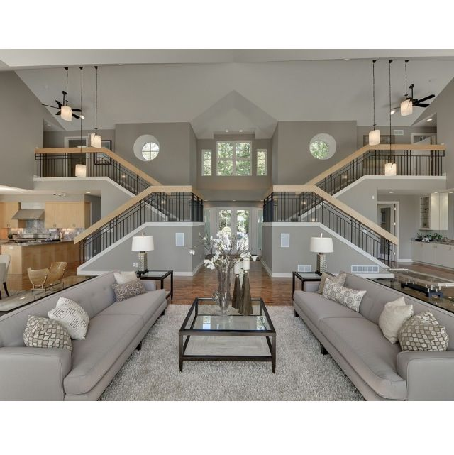 My dream living room! Double staircase with two upper wings of the ...