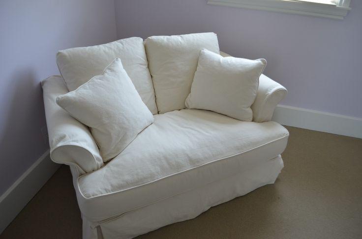 Off white linen sofa w loose pillow back baker mahageny for White linen sectional sofa