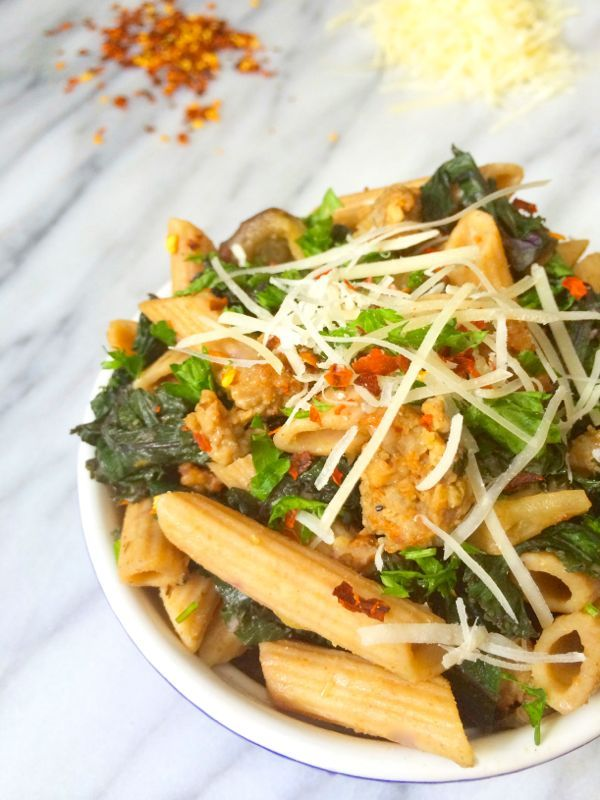 Sausage, Eggplant and Kale Pasta | Recipe