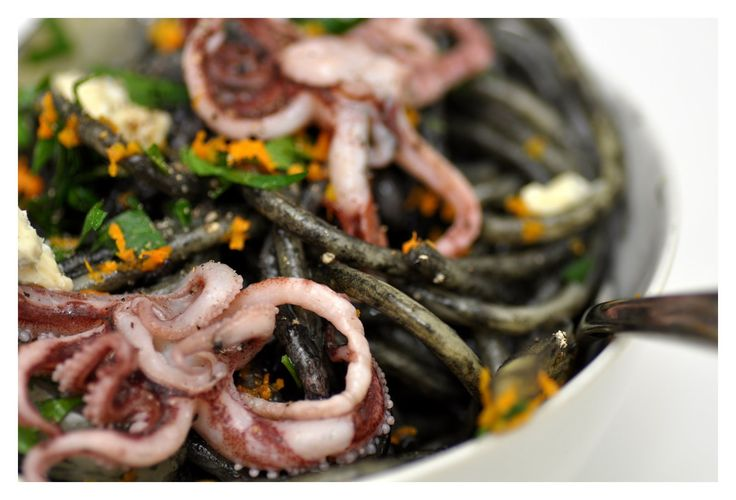 squid ink pasta with orange-braised fennel and tentacles