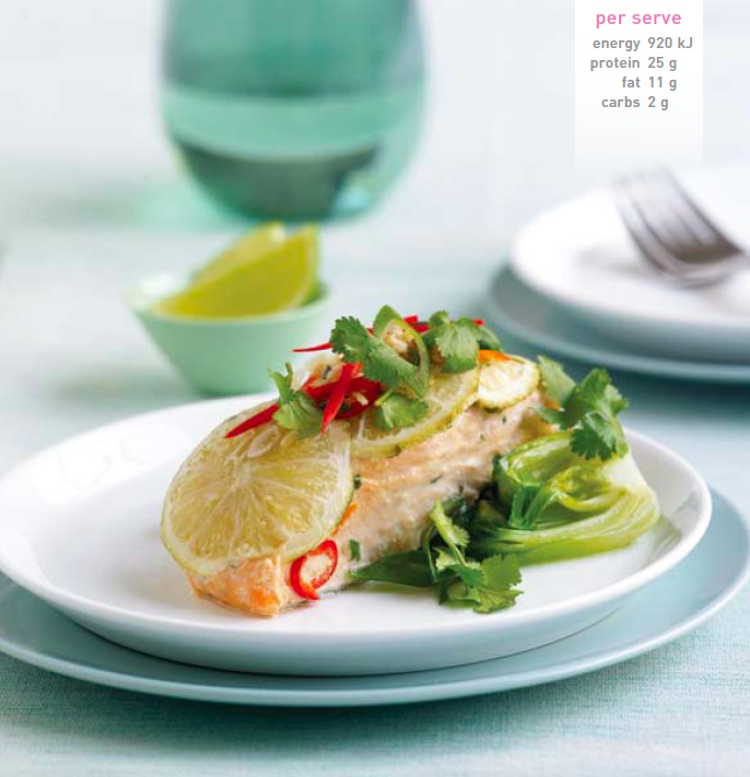 Steamed Salmon with Ginger, Chilli and Garlic. Recipe here: http ...