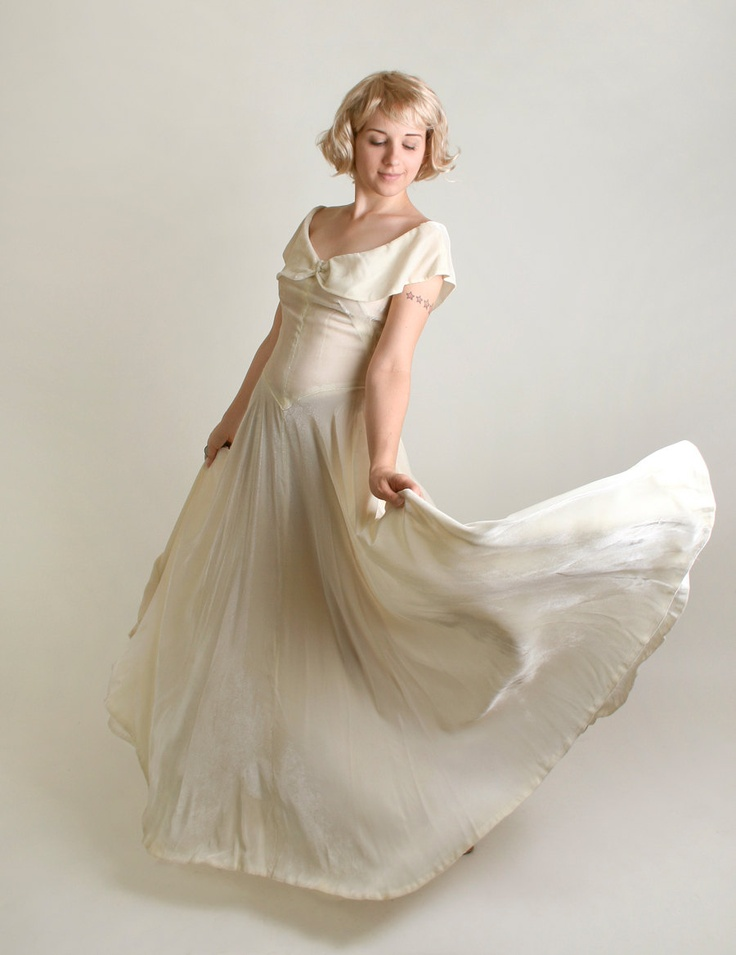 1930s white velvet gown vintage ivory spring wedding With white velvet wedding dress
