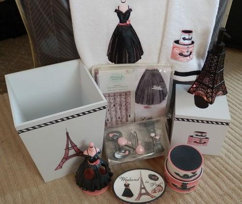 paris eiffel tower bathroom accessory 10 piece set with. Black Bedroom Furniture Sets. Home Design Ideas