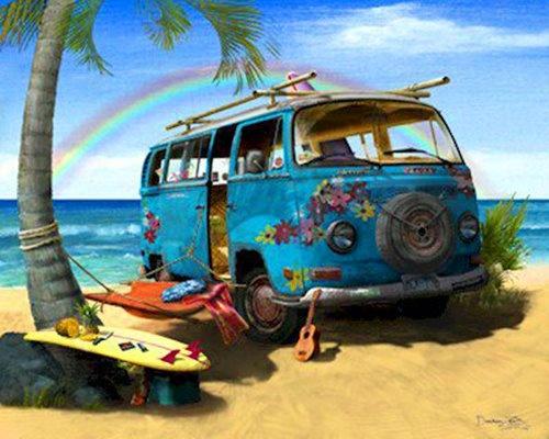 vw bus at the beach vw buses pinterest. Black Bedroom Furniture Sets. Home Design Ideas