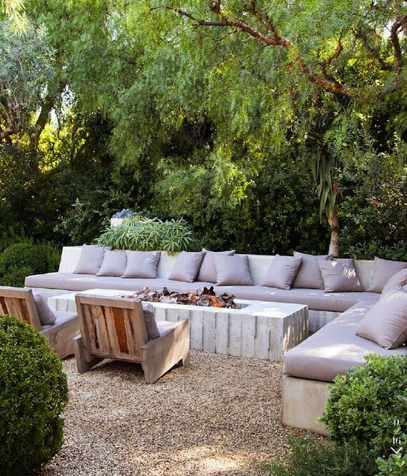 Outdoor fire pit and couch area  GardenYard  Pinterest