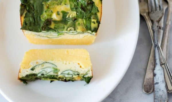 Spinach + Scallion Polenta Tart | Yummy foods | Pinterest