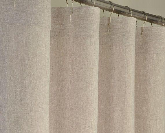 78 LONG Beige Linen Shower Curtain - 72 x 78 LONG - Washed Linen