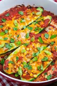 Chicken Enchilada Stuffed Zucchini | Recipe