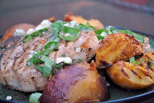 Grilled Pork Chops With Caramelized Peaches And Basil Recipes ...