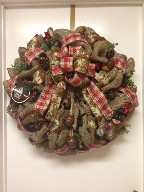 Christmas burlap wreath wreaths pinterest Burlap xmas wreath