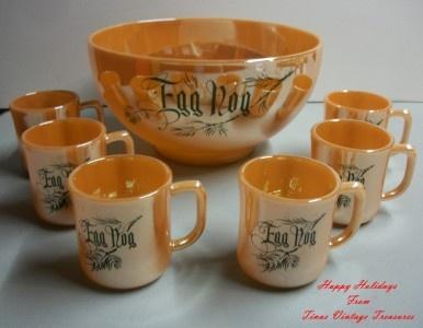 Vintage Eggnog bowl and cups | Christmas Eggnog | Pinterest