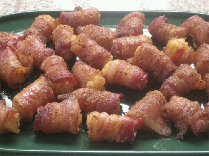 Bacon wrapped tator tots   food   Pinterest