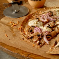 Thinnest Crust Pizza with Ricotta and Mushroom by pbs.org/everydayfood ...