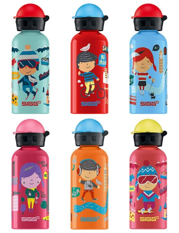 New travel series of SIGG water bottles for kids featuring really cute boys + girls in different countries