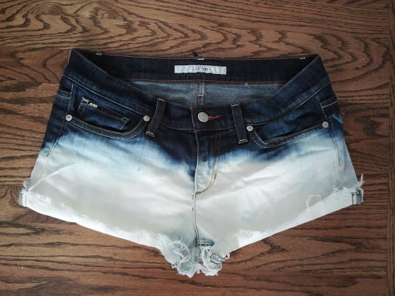Dip Dyed Bleached Shorts. $25.00, via Etsy.
