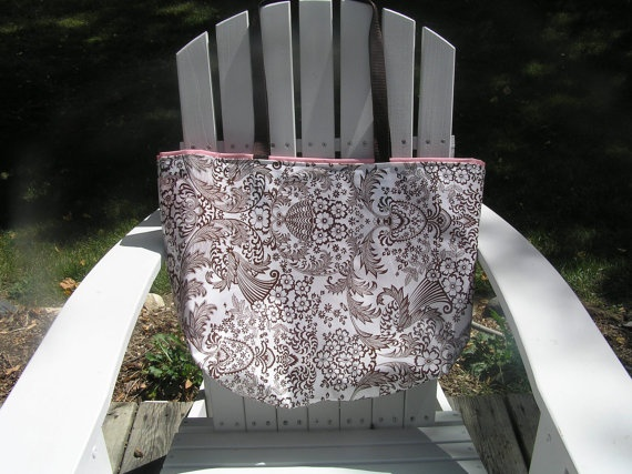 Cosmetic bags to go with it large brown toile with pink oilcloth