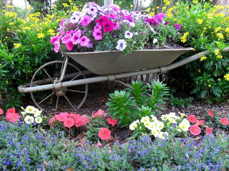 Wheelbarrow flowers gardens pinterest for Deco de jardines pequenos
