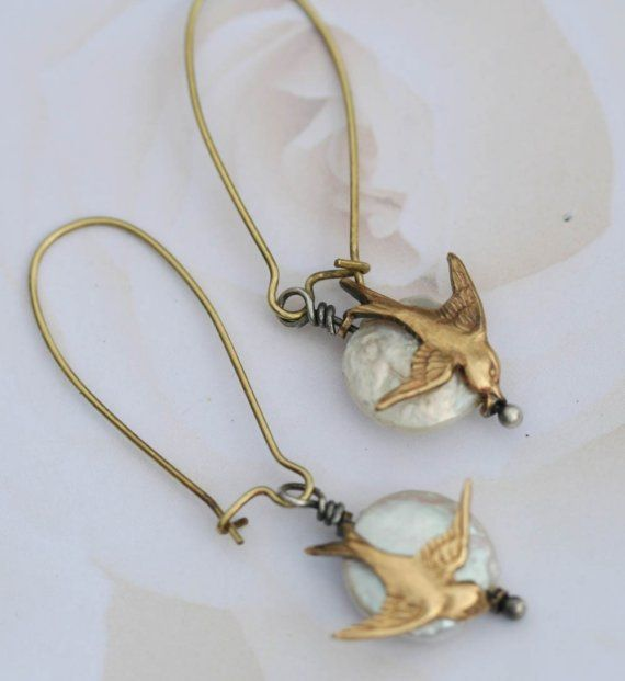 Coin Pearl Earrings Bird Earrings Dangle Earrings by madebymoe, $28.00