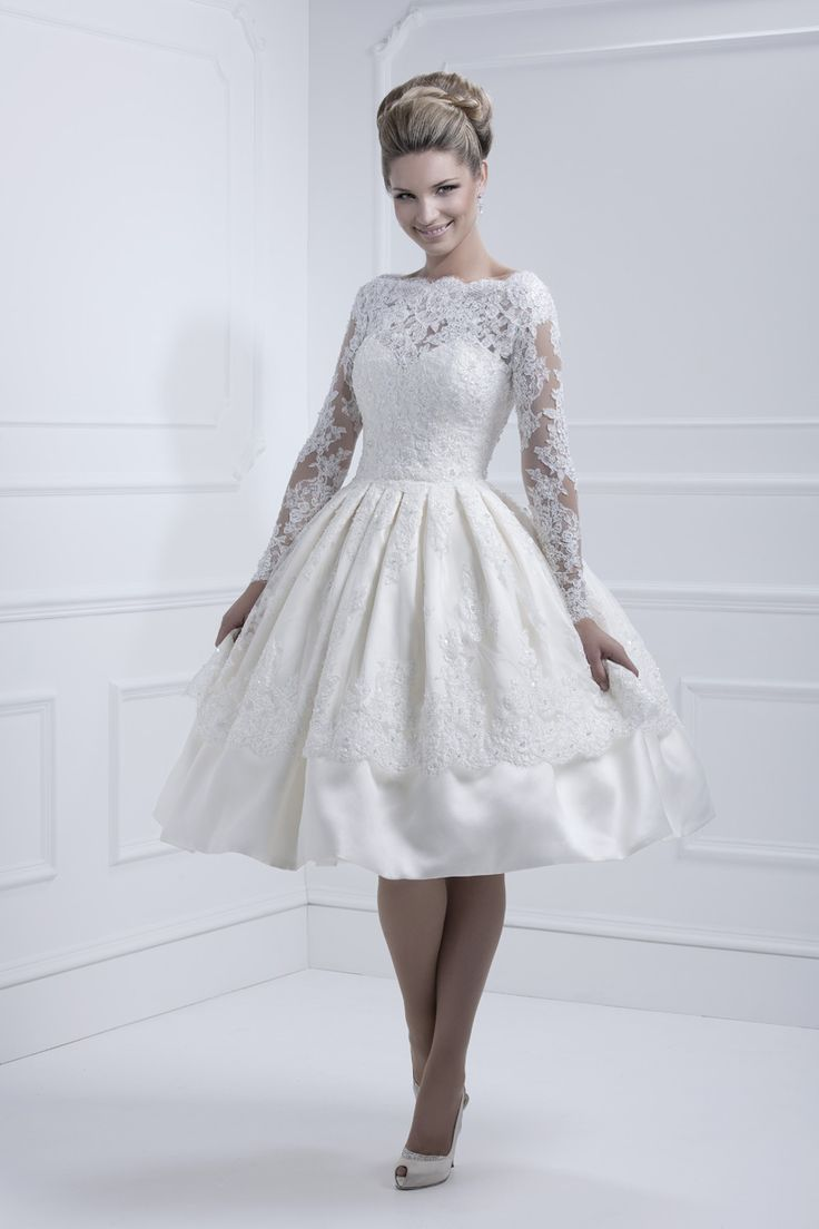 11317 1 2 for Tea length lace wedding dresses with sleeves