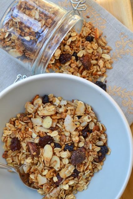 Delicious granola with dried fruit, coconut and nuts!