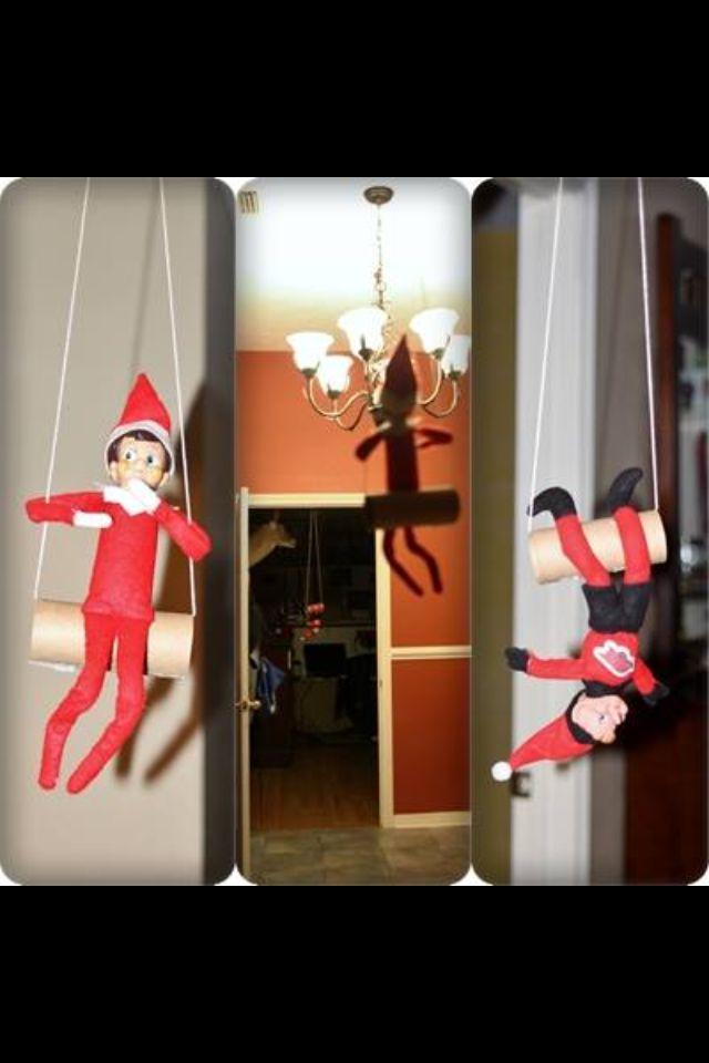 Elf on the shelf... TP Roll trapeze | My DIY | Pinterest